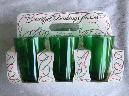 Vintage Anchor Hocking Set of 6 Green Drinking Glasses, Original Carrier