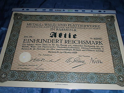 28 : histor.Wertpapier/ Aktie : Metall - Walz - u. Plattierwerke , Barmen 1929