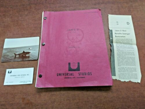 Original Jaws 2 Final Draft Screenplay September 2 1977/ Excellent Condition