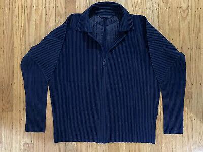 NWT Homme Plisse Issey Miyake Pleated Zipped Jacket - Dark Blue - Size 3/Large