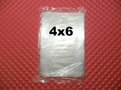 100 Small 4''x 6'' / 1 Mil Clear Flat Open End Plastic Merchandise Bags 4x6