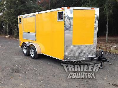 Brand New 2019 7x14 7 X 14 V-nosed Enclosed Concession Vending Trailer In Stock
