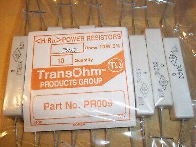 300 Ohm 5 10 Watt Axial Cement Power Resistor 10 Pieces