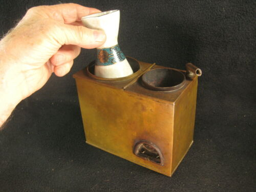 ANTIQUE JAPANESE MEIJI ERA (c.1910) HAND MADE  COPPER PORTABLE SAKE BRAZIER