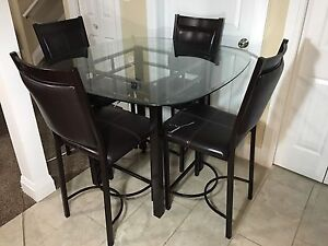 Glass table with chairs $100