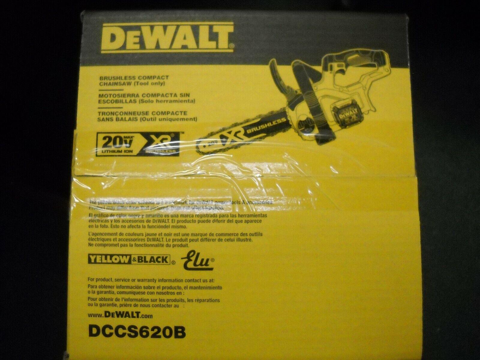 "DEWALT DCCS620B 20V MAX XR Compact 12"" Cordless Chainsaw NEW"