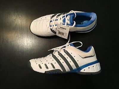 NWT Mens Adidas Barricade IV Tennis Sneakers - sz 11 Wht/Blu/Gray Shoes 4.0 (Adidas Tennis Sneakers)