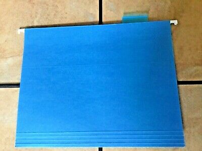 6 Hanging File Folders Letter Size Blue Plastic Tabs - Us Free Ship