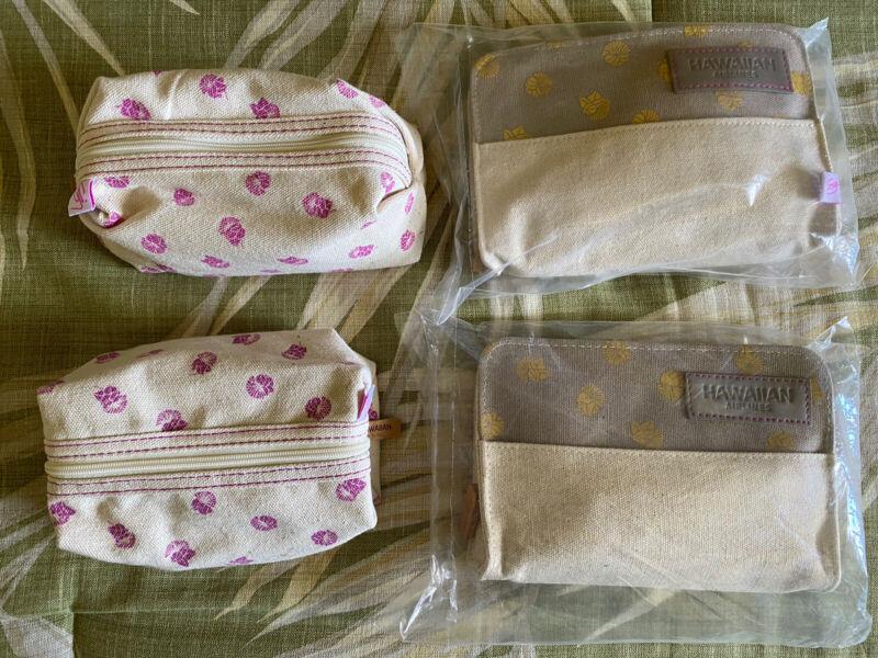 Lot of 4 | HAWAIIAN AIRLINES Amenity Kits Toiletry Bag Sig Zane NEW