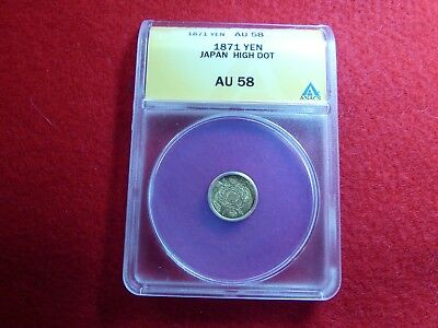 JAPAN, GOLD YEN, 1871 High Dot Version, AU50 - $395.00