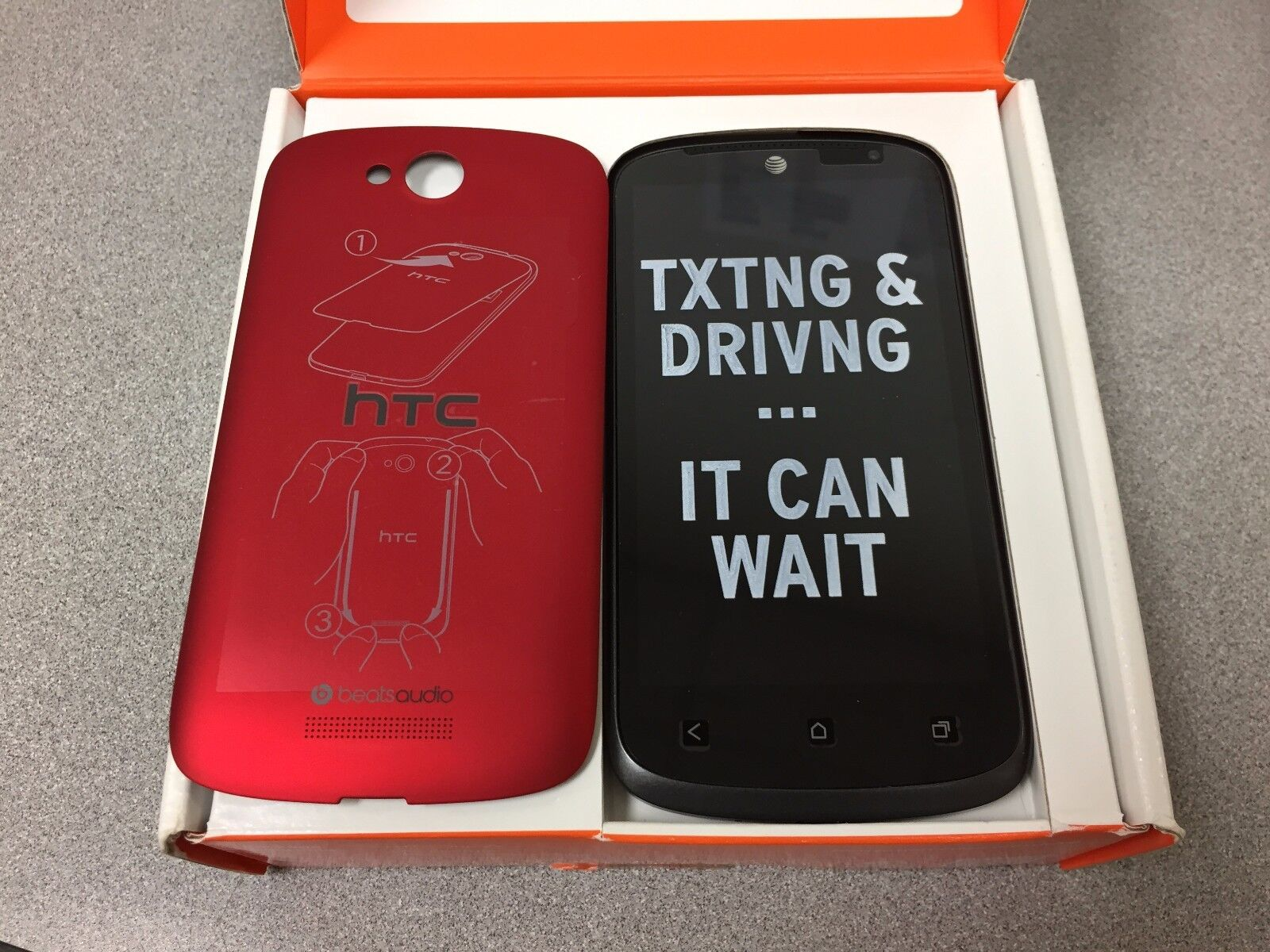 Htc One - HTC One VX - 8GB - Red  (Unlocked) AT&T Smartphone. Fair Cosmetic w Accessories