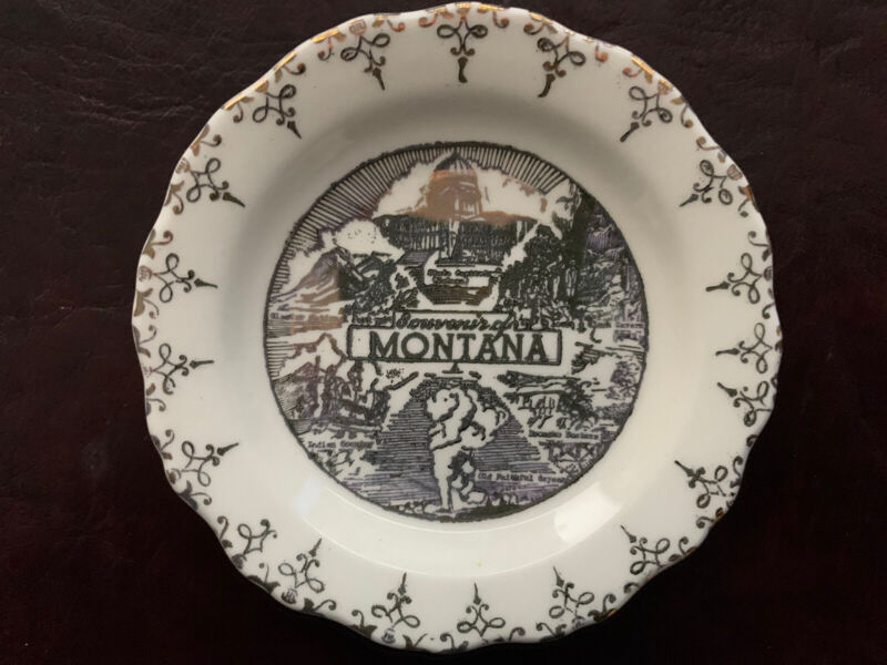 "Sabin Vintage Crest-O-Gold Warranted 22K Montana Souvenir Plate 3.25"" Dia"