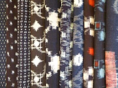 Vintage Japanese Cotton Kasuri, Kimono Fabric,  Scrap Remnants, 10 Piece Bundle