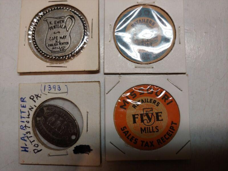 Vintage K. Ewer Pewterer,Missouri Retailers Sales Tax Receipt Coins,H. A. Ritter