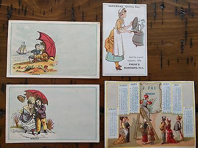 #ORIGINAL 1800's VICTORIAN Lot of 4 Trade Card Calendar Seasons Ads 4.5 x 3""