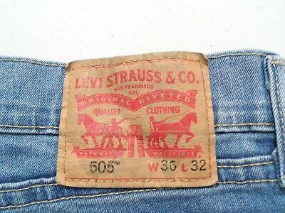 Levis 505 Men's Jeans Size 36x32 Blue Stretch Denim Straight Fit Red Tab 36 32