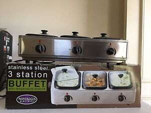 Nostalgia Stainless Steel 3-Station Buffet Server Darling Heights Toowoomba City Preview