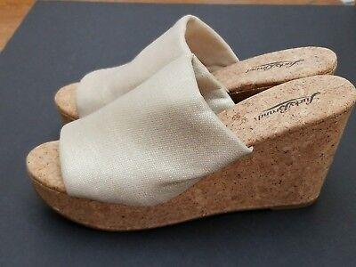 New W/O B.Lucky Brand Gold Metallic Marilyn Wedge Sandal Cork Platform Heel - Cork Platform Metal Heel