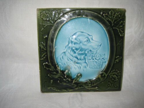 Antique figural Majolica dog tile, Retriever dog tile with basket of flowers