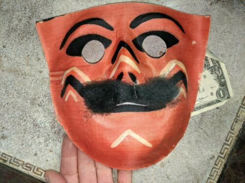 Vintage Painted Linen Fabric Face Mask Halloween Masquerade no 3