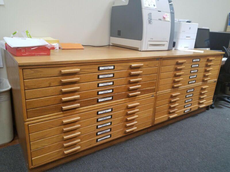 Vintage Mayline Wooden Flat File Cabinets