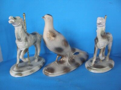 LOT OF  3 VINTAGE LARGE CERAMIC FIGURINES 2 HORSES ONE PIGEON