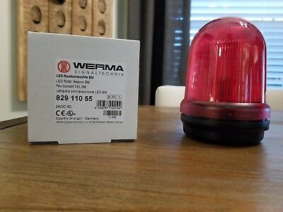 Werma Red Led Rotating Beacon 24v Part 829.110.55