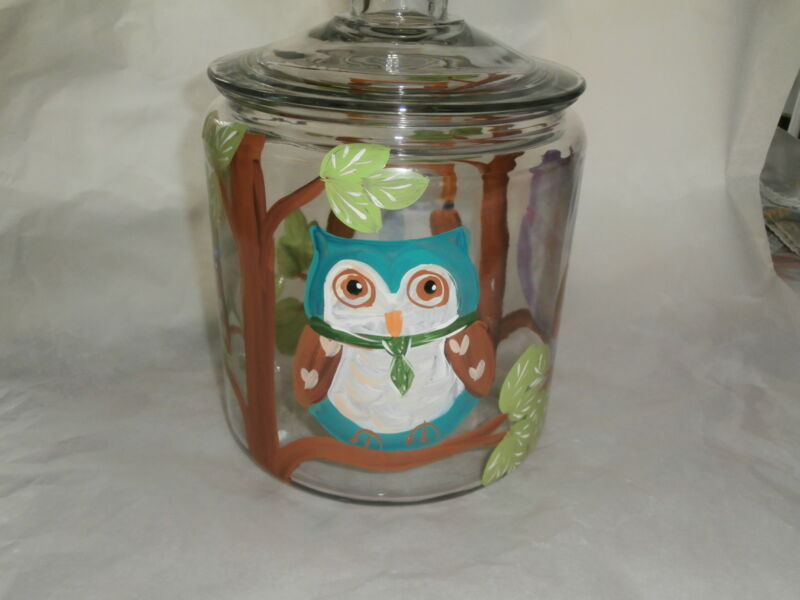 HAND PAINTED FUN OWLS/TREE  ORIGINAL  HALF GALLON COOKIE JAR/CANISTER