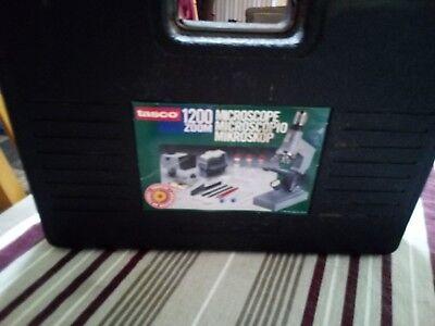 Microscope Kit Kids Science Vintage Educational Tasco 1200x Lab Case Set Biologi