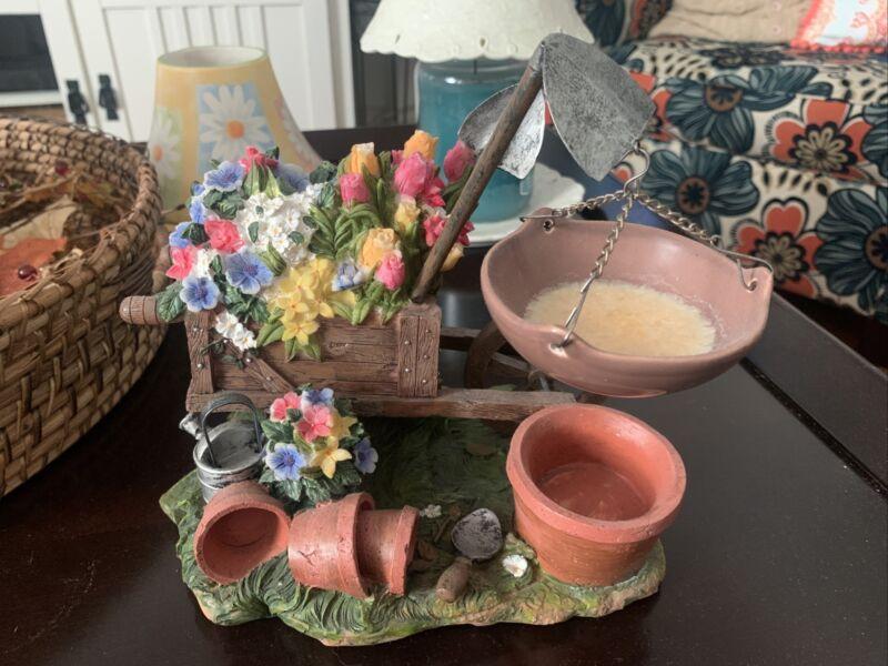 vintage spring floral wheel barrel wax/tart warmer