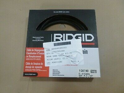 Ridgid 62270 Snake Drain Leaning Cable C-8 58 X 7-12 Ft. For K50 K60sp Mach