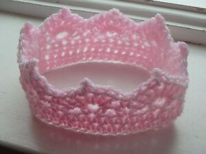 Baby Crown Hats Handmade Crochet knit Photography Props Newborn cute pink