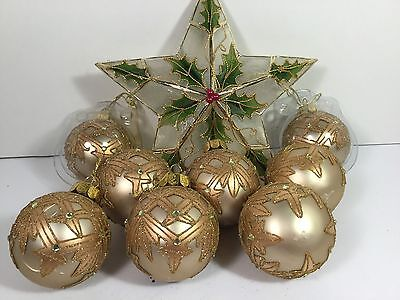 8 BEAUTIFUL VINTAGE WATERFORD CHRISTMAS BALL ORNAMENTS
