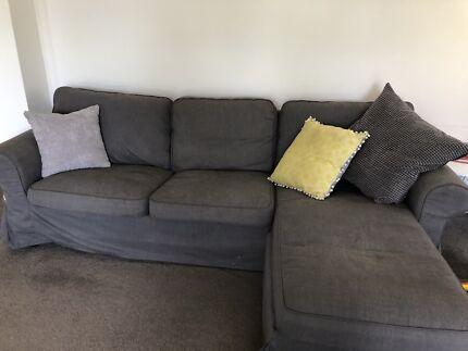 IKEA Ektorp 3 seater chaise lounge sofa grey