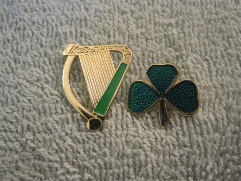 Irish Harp & Shamrock 2 Pin Set Ireland Celtic Shamrock/Harp Pin Set AOH