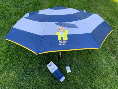 NEW Ralph Lauren Polo Bear Collapsible Automatic Compact Umbrella & Pouch