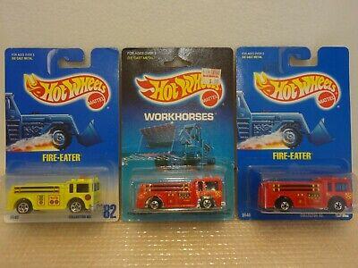 Hot Wheels Fire Eater Lot (3) Blue Card 82 x2 Workhorses Mint In Package MOC
