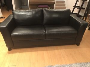 Black leather couch living room set