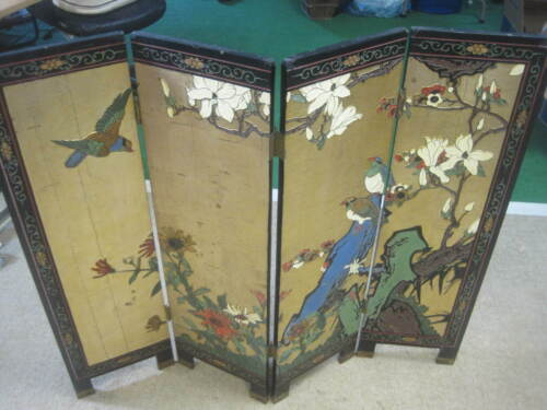 ANTIQUE JAPANESE 4-PANEL 2 Sided Embossed Etched Handpainted SCREEN on GOLD LEAF