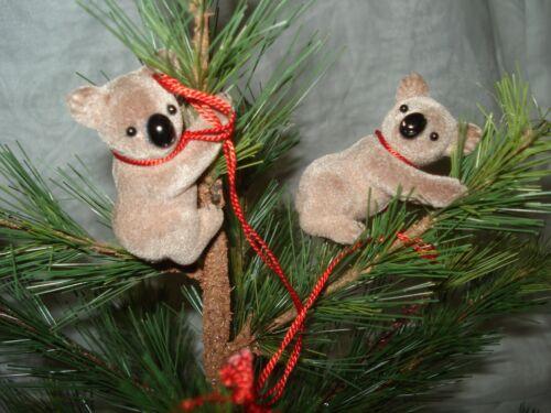 VINTAGE KOALA BEAR CHRISTMAS ORNAMENT FLOCKED
