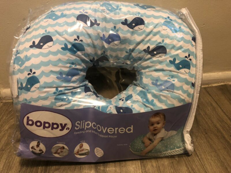 Boppy Original Nursing Pillow and Positioner, Blue Whales, Brand New In Package