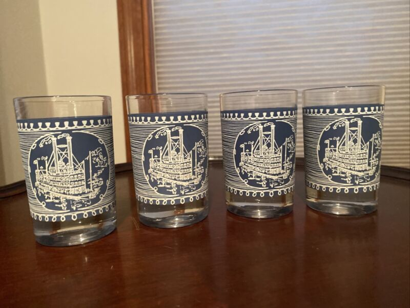 4 Currier and Ives Blue Steamboat 4 Oz Juice Glasses by Royal China USA 3 5/8