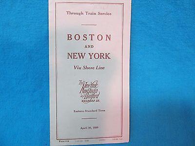 1939 BOSTON & NEW YORK RAILROAD TIME TABLE