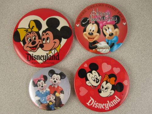 Vtg LOT 4 Anniversary/Romantic Mickey & Minnie Mouse Disneyland Pin Back Buttons