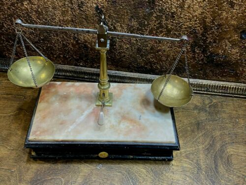 Antique Apothecary Travel Balance Scale ~ Wood base with  Drawer  Gold