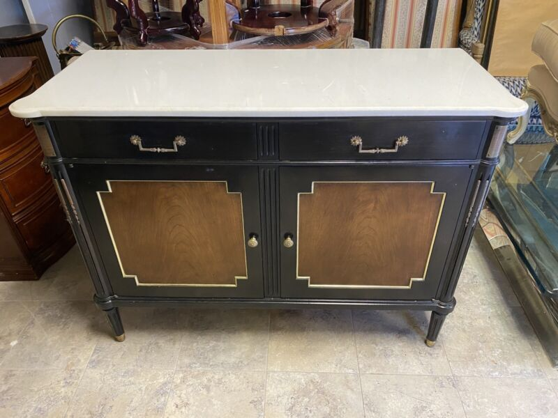 French Louis XVI Style Marble Top Bronze 2 Door Server Chest Cabinet