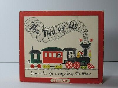 "Vintage Hallmark Christmas Card Set of 25 ""The Two of Us"" Trains"