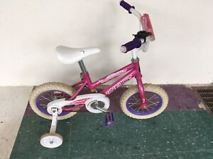Little girls bike with training wheels