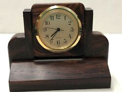 Handcrafted, Small Desk Clock, exotic Rosewood, pre-owned
