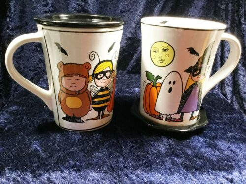Pair Halloween Ursula Dodge Goblins Coffee Tea Mugs w/Coasters Lids Witch Ghost
